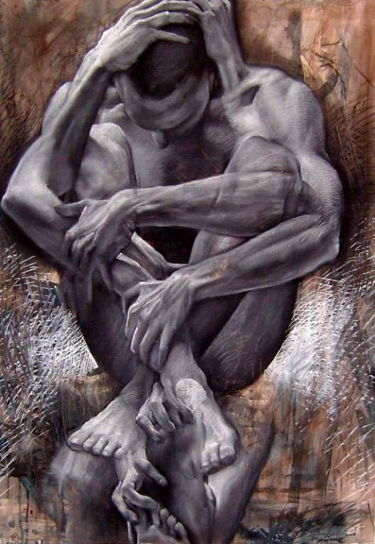 A-fine-art-painting-by-Jakub-Kujawa-that-shows-a-man-curled-into-a-fetal-position-with-his-arms-in-different-positions