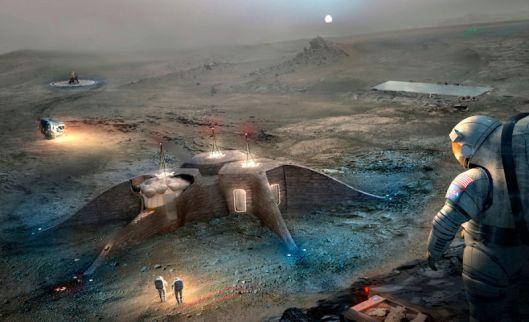 Gamma: La idea es similar a la de Foser, un edificio impreso en regolito por robots que recubre un habitat hinchable. El proyecto no contempla cimientos ni detalla el proceso.